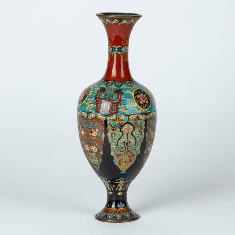 Cloissoné Elaborately Decorated Japanese Meiji Cloisonne Vase, 19th Century For Sale