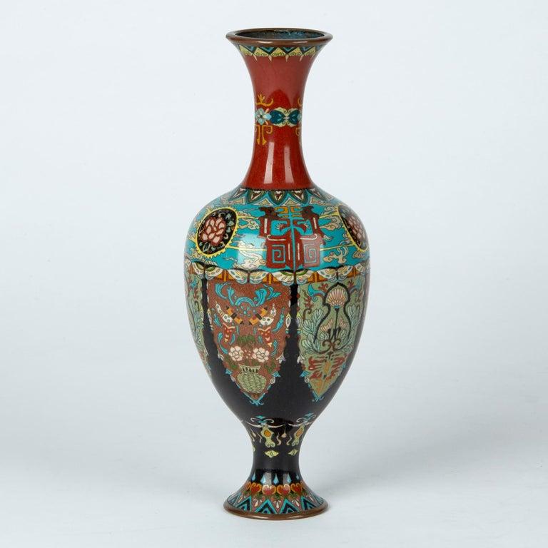 Elaborately Decorated Japanese Meiji Cloisonne Vase, 19th Century In Good Condition For Sale In Bishop's Stortford, Hertfordshire