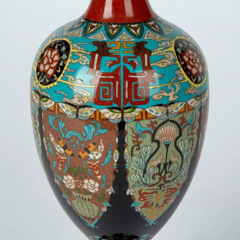 Enamel Elaborately Decorated Japanese Meiji Cloisonne Vase, 19th Century For Sale
