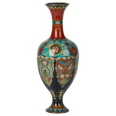 Elaborately Decorated Japanese Meiji Cloisonne Vase, 19th Century