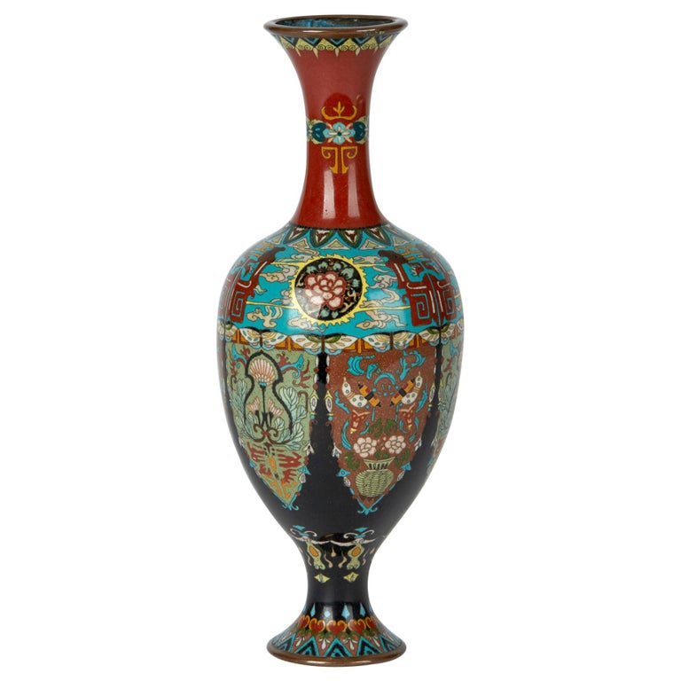 Elaborately Decorated Japanese Meiji Cloisonne Vase, 19th Century For Sale