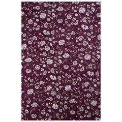 Elaborately Embroidered, Garnet Raw Silk, Indian Handricraft, Bejewelled Flowers