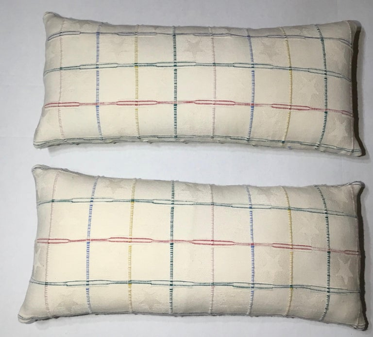 Beautiful pair of pillows made of quality French textile, texture geometric motifs of soft colors on White -cream color all on both sides back and front. Frash new inserts.