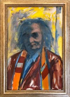 """Kaldis"" Abstract Expressionist Oil on Canvas Portrait of Aristodemos Kaldis"