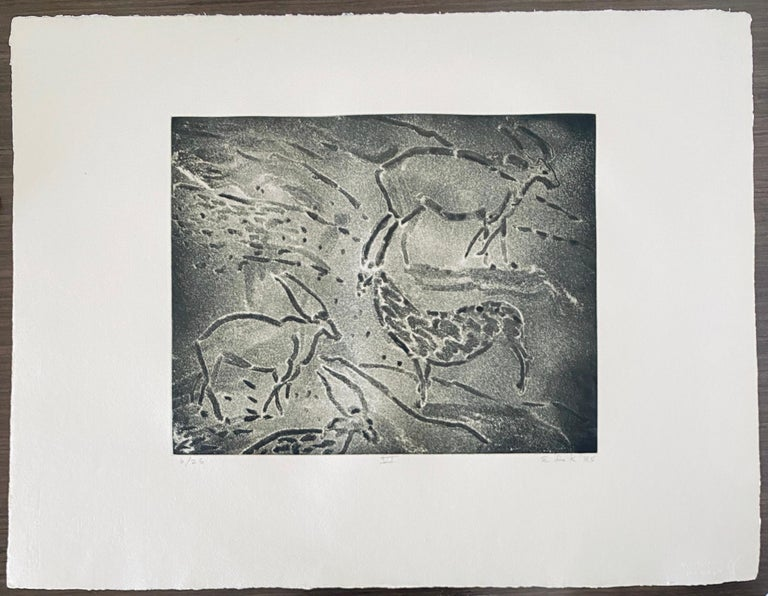 Abstract Expressionist Aquatint Etching Elaine de Kooning Animal Cave Drawing For Sale 8