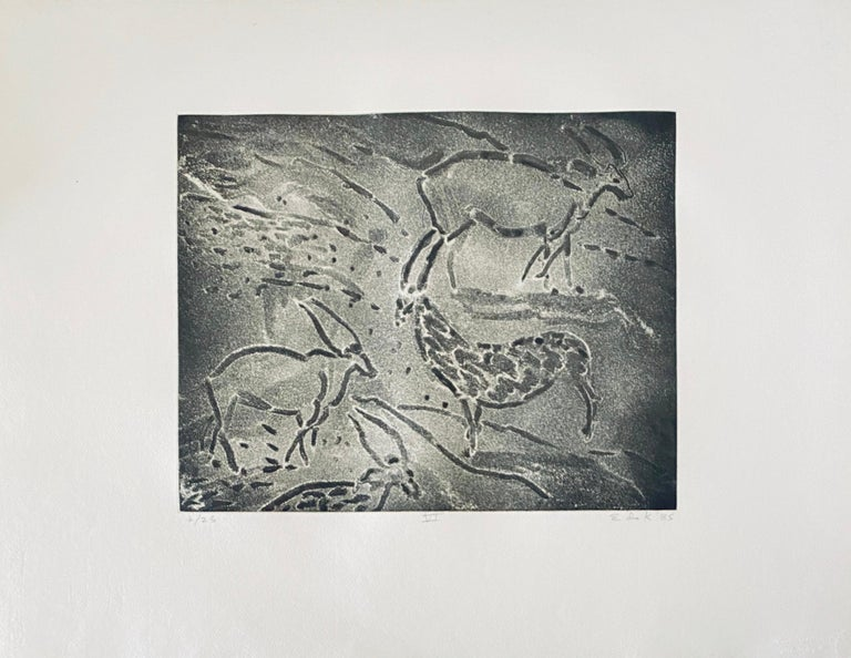 Abstract Expressionist Aquatint Etching Elaine de Kooning Animal Cave Drawing For Sale 2