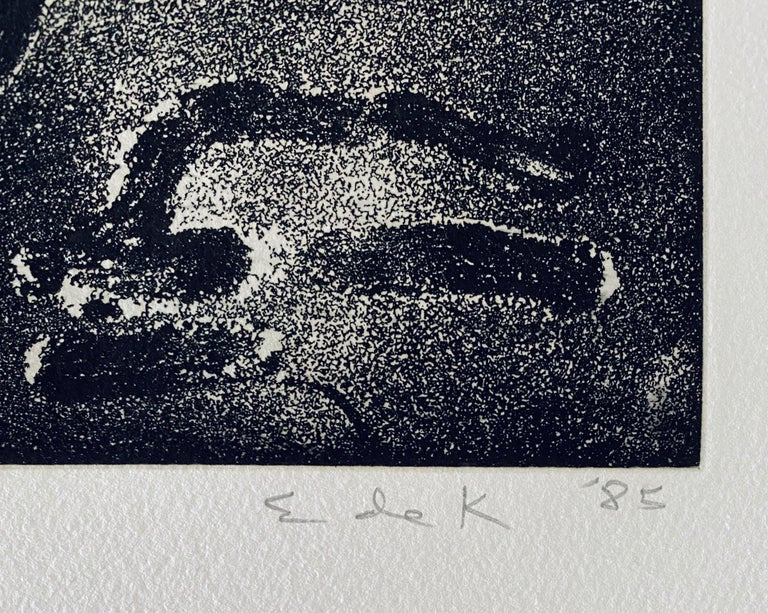 Abstract Expressionist Aquatint Etching Elaine de Kooning Animal Cave Drawing For Sale 3