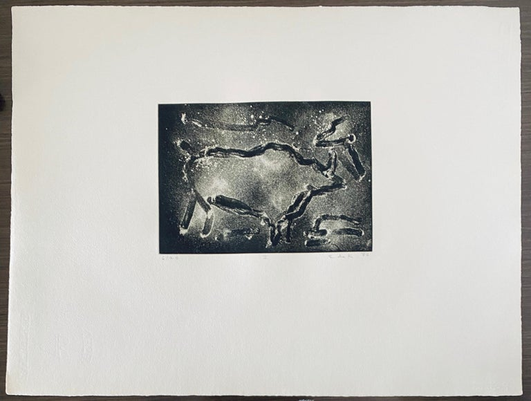 Abstract Expressionist Aquatint Etching Elaine de Kooning Animal Cave Drawing For Sale 6