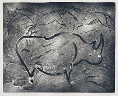 Abstract Expressionist Aquatint Etching Elaine de Kooning Animal Cave Drawing