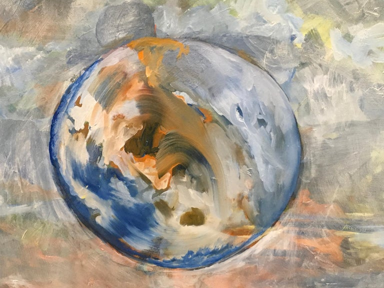 Hot and Cloudy, Oil, Sky, Planets, Warm Colors, Blue, Orange, Peach, Outer Space - Painting by Elaine Galen