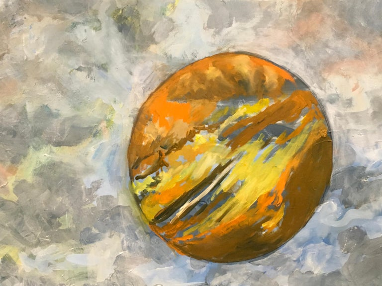 Hot and Cloudy, Oil, Sky, Planets, Warm Colors, Blue, Orange, Peach, Outer Space - Contemporary Painting by Elaine Galen