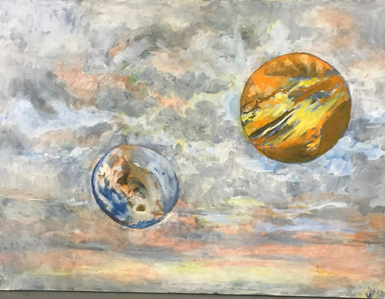 Elaine Galen Landscape Painting - Hot and Cloudy, Oil, Sky, Planets, Warm Colors, Blue, Orange, Peach, Outer Space