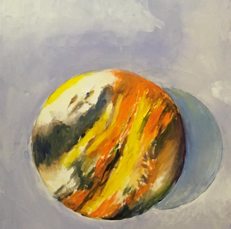 Intervals, Oil, Sky, Planets, Warm Colors, Blue, Orange, Yellow, Outer Space - Painting by Elaine Galen