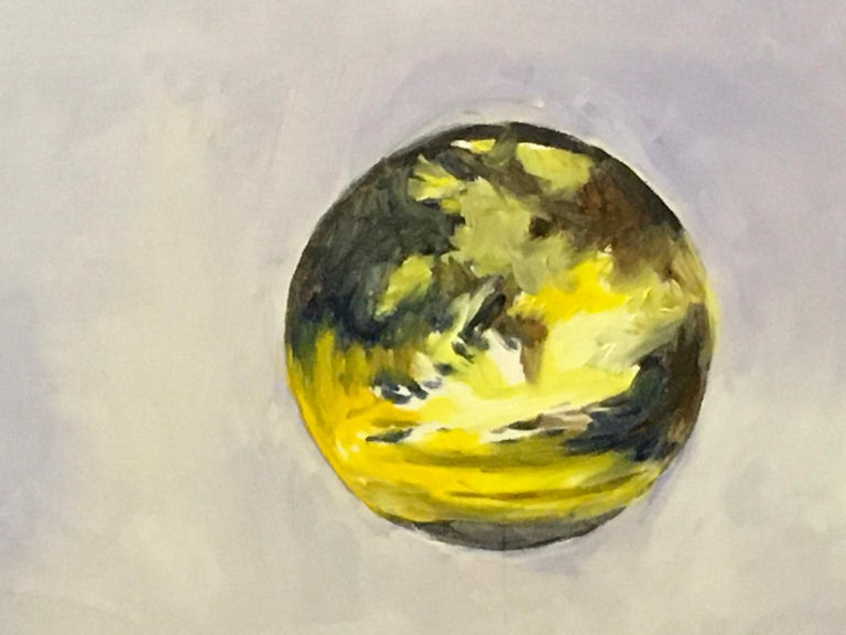Intervals, Oil, Sky, Planets, Warm Colors, Blue, Orange, Yellow, Outer Space - Contemporary Painting by Elaine Galen
