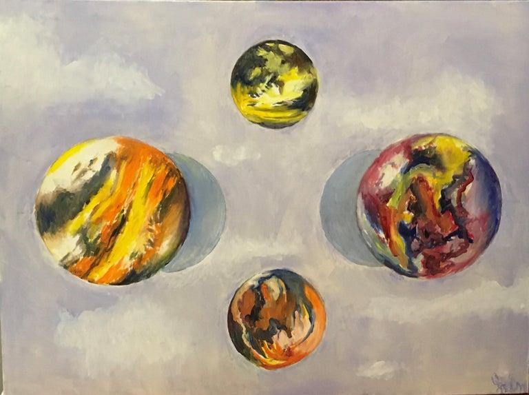Elaine Galen Landscape Painting - Intervals, Oil, Sky, Planets, Warm Colors, Blue, Orange, Yellow, Outer Space