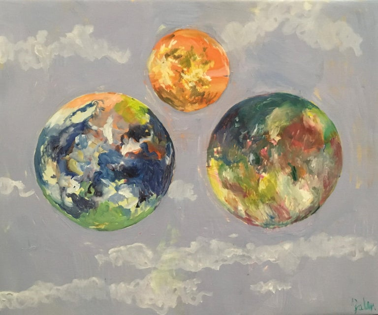 Elaine Galen Abstract Painting - Other Skies, Oil, Skies, Planets, Warm Colors, Blue, Orange