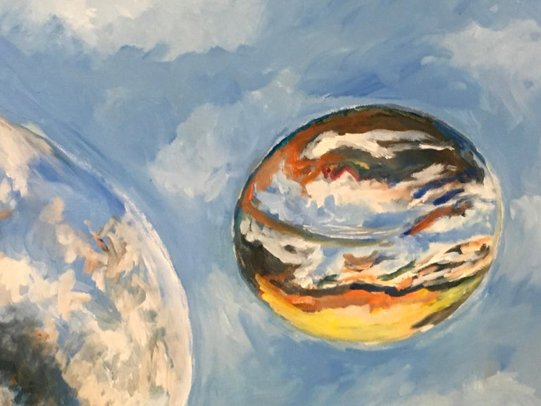 Rolling Skies, Oil, Sky, Planets, Warm Colors, Blue, Orange, Yellow, Outer Space - Painting by Elaine Galen