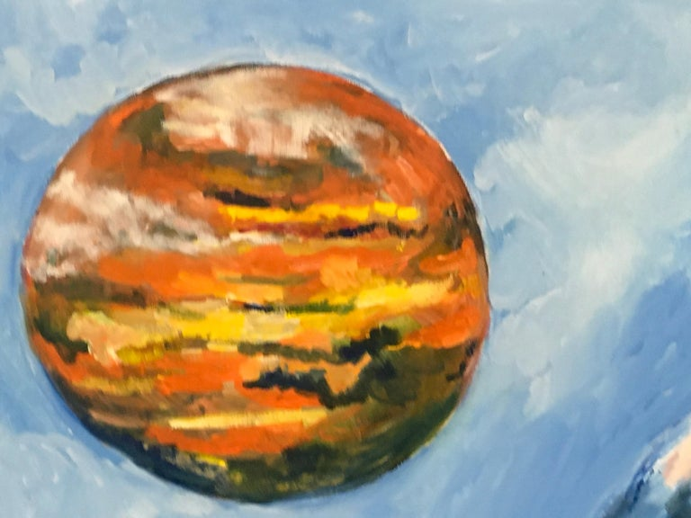 Rolling Skies, Oil, Sky, Planets, Warm Colors, Blue, Orange, Yellow, Outer Space - Contemporary Painting by Elaine Galen