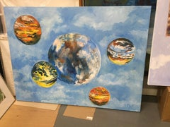 Rolling Skies, Oil, Sky, Planets, Warm Colors, Blue, Orange, Yellow, Outer Space
