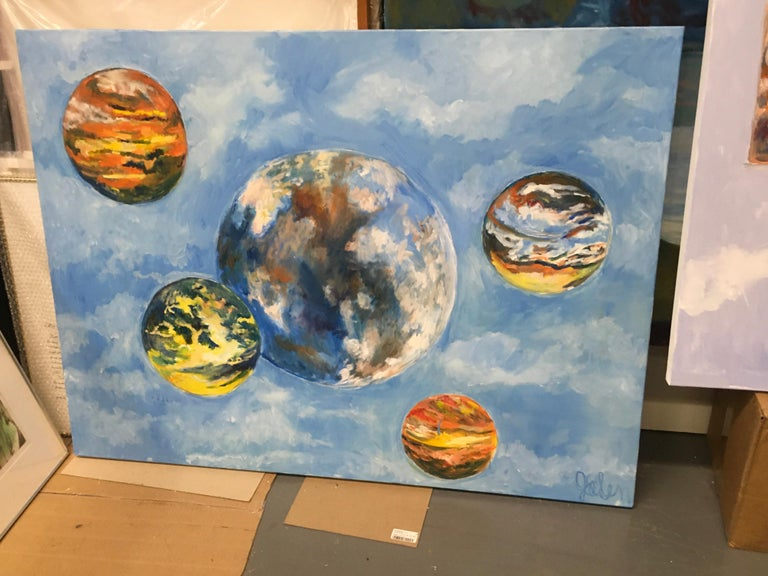 Elaine Galen Abstract Painting - Rolling Skies, Oil, Sky, Planets, Warm Colors, Blue, Orange, Yellow, Outer Space
