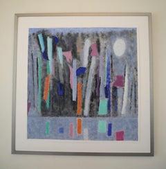 "Abstract Oil on Paper, ""Midnight-Moonlight"""