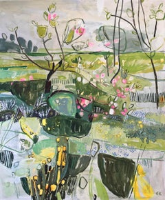 Apple Blossom at Botley Road Allotments, Oxford II, abstract painting landscape