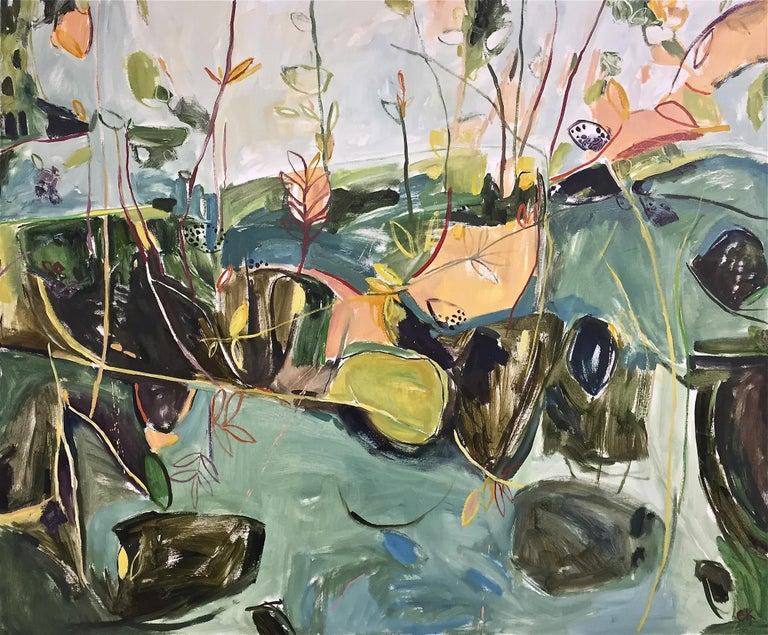 Elaine Kazimierczuk Landscape Painting - Bramble & Elderberry II (right panel of Autumn Diptych) large abstract painting