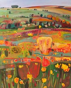 Buttercups and Speedwells, Elaine Kazimierczuk, Bright Art, Floral Painting