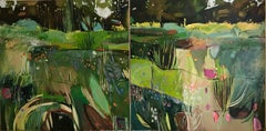 Diptych: Merton Borders at the Oxford Botanic Gardens, large abstract painting