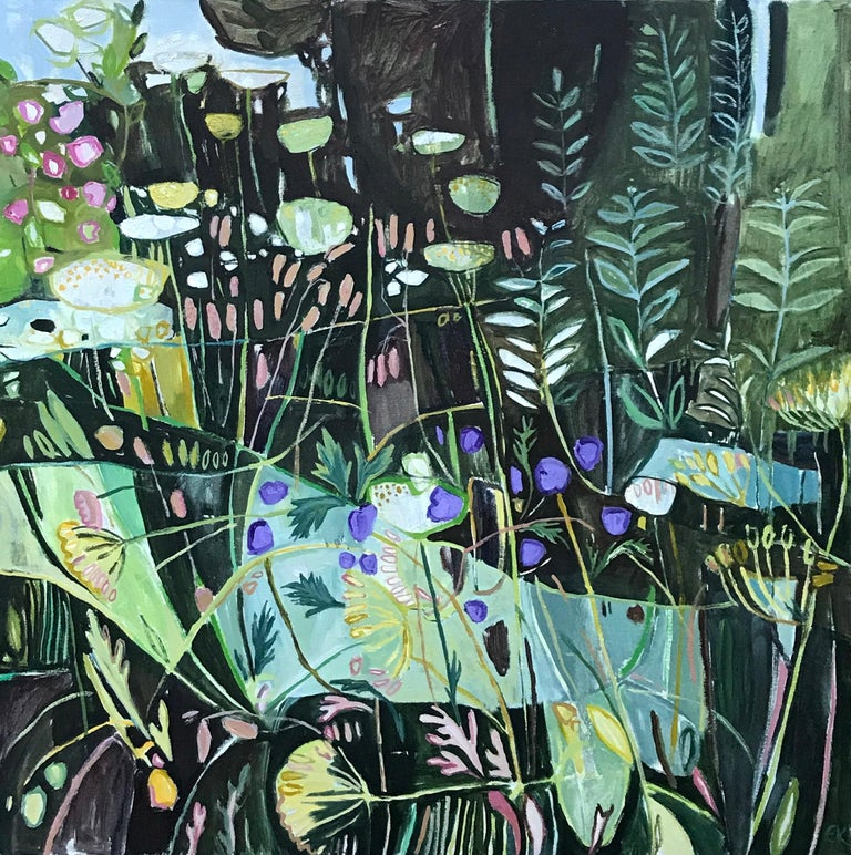 Diptych, Path to Minster Lovell, Oxfordshire, large British landscape painting, - Painting by Elaine Kazimierczuk