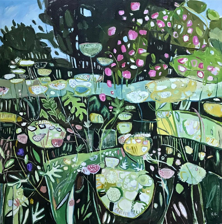 Diptych, Path to Minster Lovell, Oxfordshire, large British landscape painting, - Abstract Impressionist Painting by Elaine Kazimierczuk