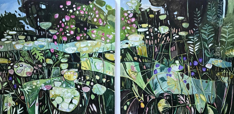Elaine Kazimierczuk Abstract Painting - Diptych, Path to Minster Lovell, Oxfordshire, large British landscape painting,