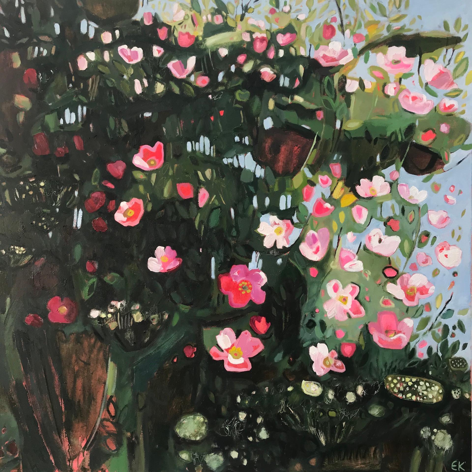 Elaine Kazimierczuk, Catching the Sunshine, Hedgerow with Dog Rose, Abstract Art