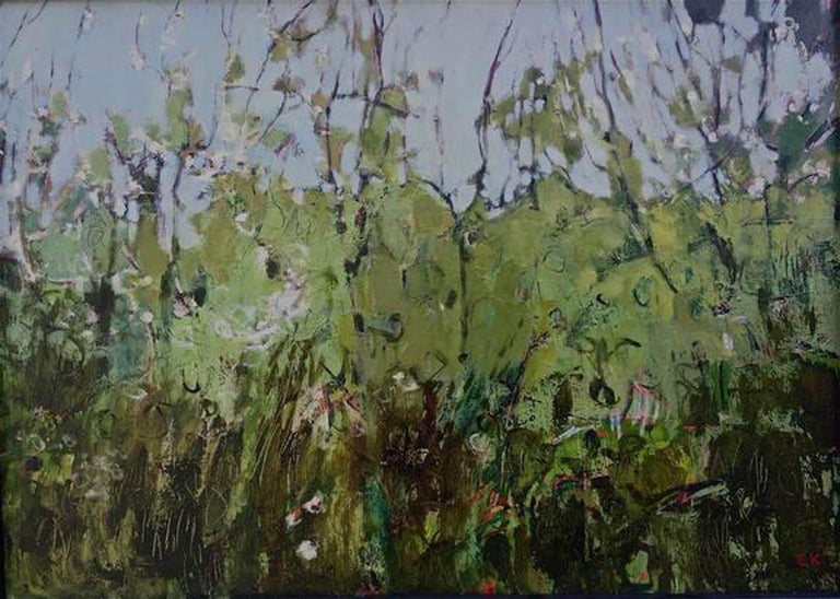 Elaine Kazimierczuk-Hedgerow with Blackthorn Blossom near Gunthorpe Bridge  - Painting by Elaine Kazimierczuk