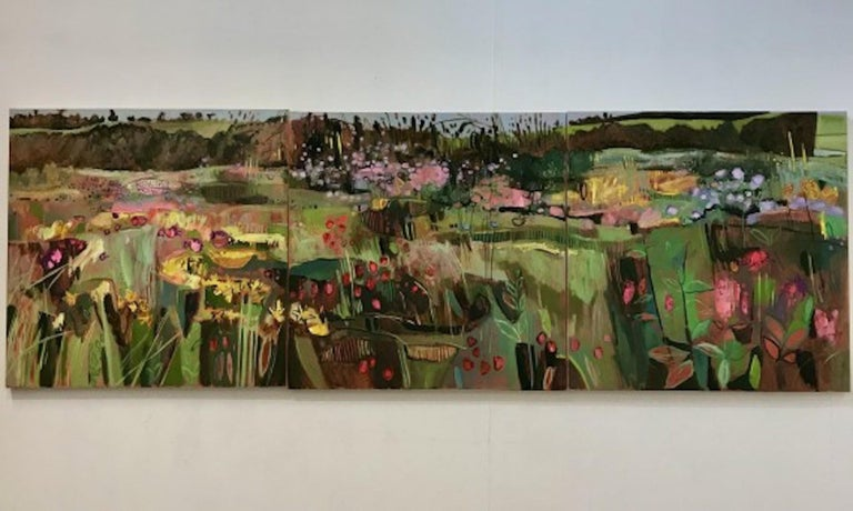 Elaine Kazimierczuk, Tackley Triptych, Contemporary Art, Triptych Landscape Art - Black Landscape Painting by Elaine Kazimierczuk
