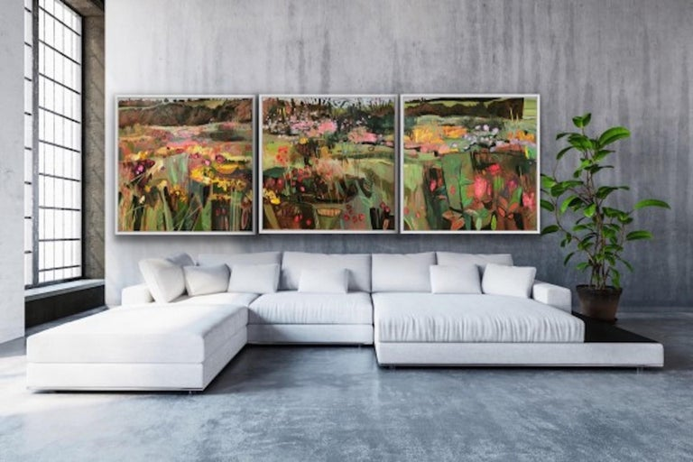 Elaine Kazimierczuk, Tackley Triptych, Contemporary Art, Triptych Landscape Art For Sale 6