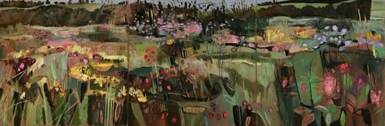 Elaine Kazimierczuk, Tackley Triptych, Contemporary Art, Triptych Landscape Art - Painting by Elaine Kazimierczuk