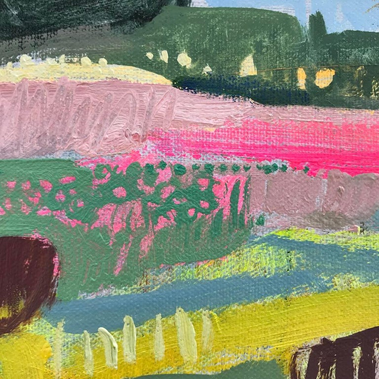 Eremurus (Pink Merton Beds) by the artist Elaine Kazimierczuk. An original oil painting on a canvas. Size : H 76 cm x W 76 cm Signed in the bottom left hand corner.   A free interpretation of the banks of pink Eremurus flowers in the Merton Beds at