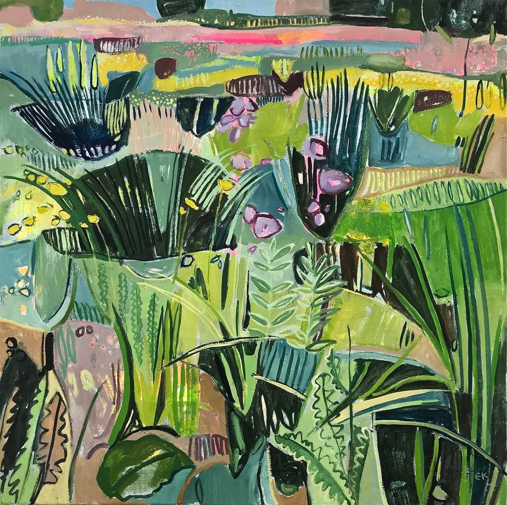Eremurus (Pink Merton Beds), Naive Painting, Bright Art, Contemporary Landscape