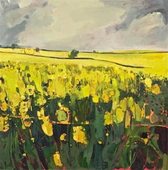 Grey Sky, Yellow Field, Elaine Kazimierczuk, Landscape, Original Painting