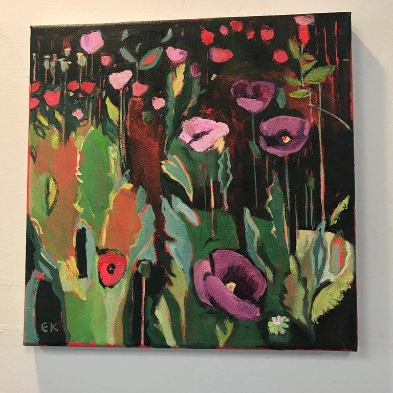 Opium Poppies at the Botanic Gardens I, Oxford Landscape painting, original art - Painting by Elaine Kazimierczuk