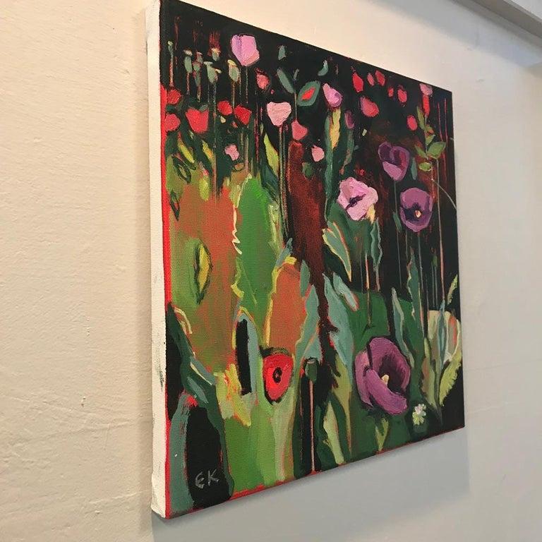 Opium Poppies at the Botanic Gardens I, Oxford Landscape painting, original art - Black Landscape Painting by Elaine Kazimierczuk