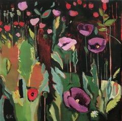 Opium Poppies at the Botanic Gardens I, Oxford Landscape painting, original art