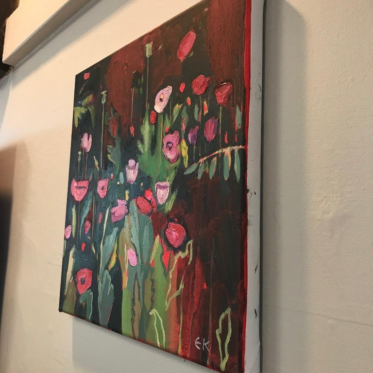 Opium Poppies at the Botanic Gardens II, Landscape painting, original art, small - Painting by Elaine Kazimierczuk