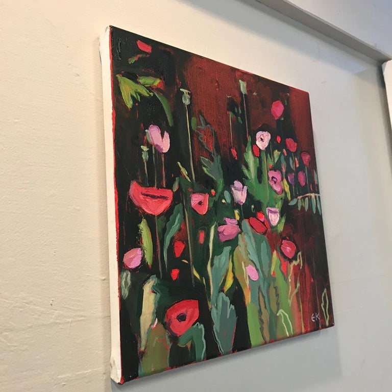 Opium Poppies at the Botanic Gardens II, Landscape painting, original art, small - Abstract Impressionist Painting by Elaine Kazimierczuk