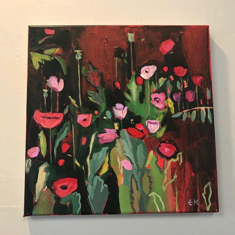 Opium Poppies at the Botanic Gardens II, Landscape painting, original art, small - Black Landscape Painting by Elaine Kazimierczuk