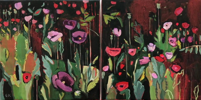 Opium Poppies at the Botanic Gardens II Abstract impressionism Original contemporary painting Oil painting on canvas - signed. Unframed but ready to hang.  I couldn't resist painting these poppies in full bloom – I love the clashing bright pinks and