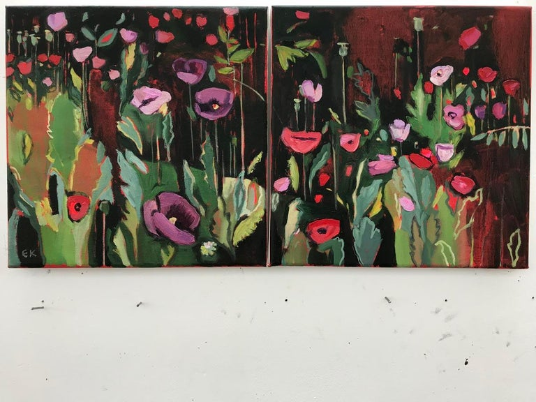 Opium Poppies at the Botanic Gardens II, Landscape painting, original art, small For Sale 1