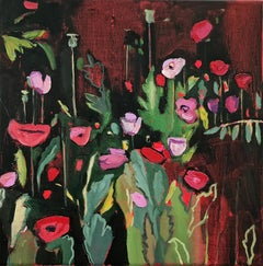 Opium Poppies at the Botanic Gardens II, Landscape painting, original art