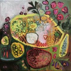 Pauls Hedgerow Bouquet III, Elaine Kazimierczuk Original Painting, Floral